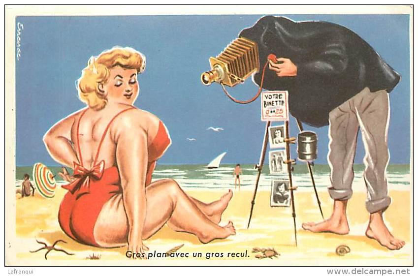 Fotografo in spiaggia, disegno umoristico